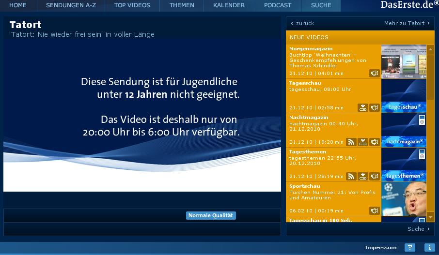 Screenshot des Angebotes der ARD-Mediethek